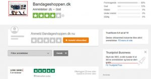 bandageshoppen.dk har en super god score på trustpilot
